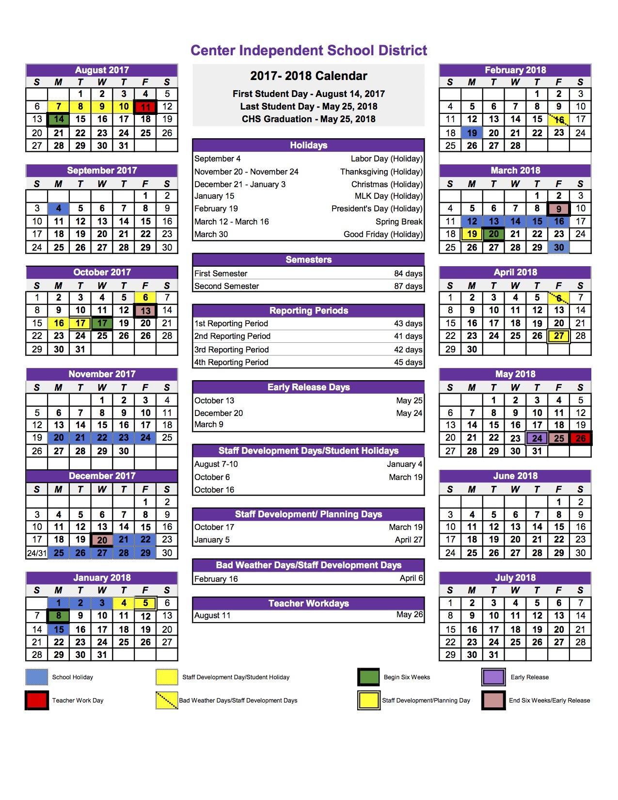 Calendar Academy Of Art University : Center isd calendar updated